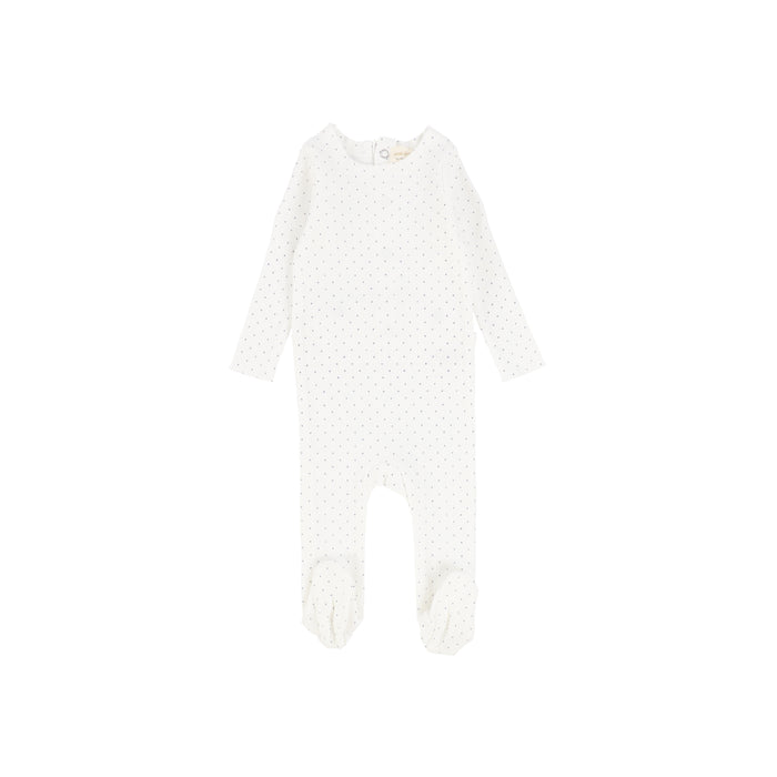 Baby Footie | Lil Legs | Dot - Winter White\Blue
