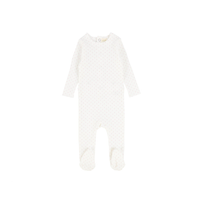 Baby Footie | Lil Legs | Dot - Winter White\Pink
