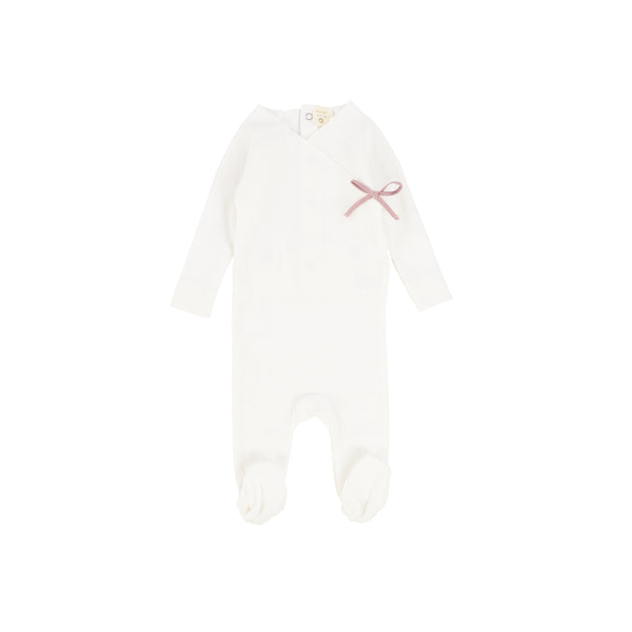 Baby Footie | Lil Legs | Rib Wrap - Winter White\Soft Pink