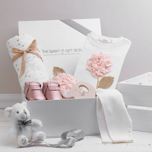 layette baby shower gift for baby girl by the baby gift box