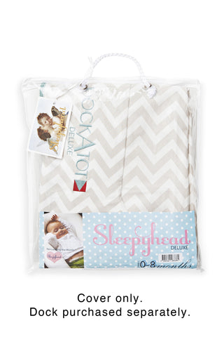 dockatot deluxe+ dock cover silver lining chevron personalization available by the baby gift box