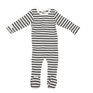 Baby Boy Footie+Bonnet | Striped | Charcoal Grey | Tricot Bebe SS21