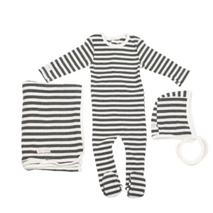 Baby Boy Layette Set | Striped | Charcoal Grey | Tricot Bebe SS21