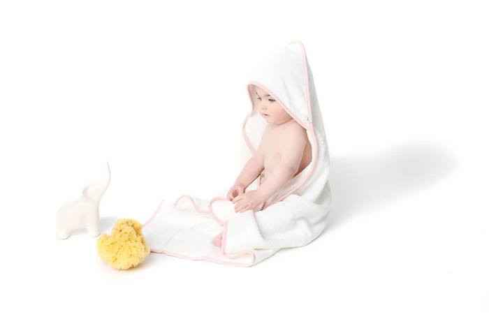 Baby Hooded Towel | White Towel/Pink Trim | Lil Legs