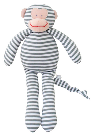 Baby Rattle Doll | Monkey | Grey Stripe | Alimrose