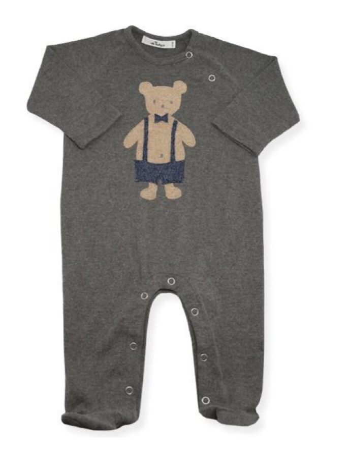Layette Collection | Footie Onesie Dapper Bear| Oh Baby! | Charcoal
