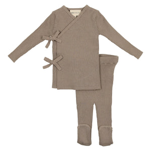 Baby Boy 3 Piece Set | Knit Wrap Bow | Cement | Mema Knits SS21