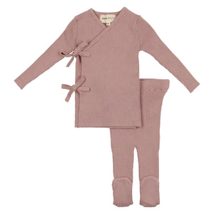 Baby Girl 3 Piece Set | Knit Wrap Bow | Vintage Rose | Mema Knits SS21
