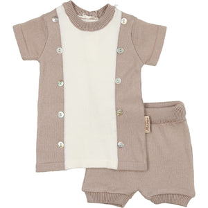 Baby Boy 2 Piece Set | Posh Pintucked | Oatmeal | Montresor Bebe SS21