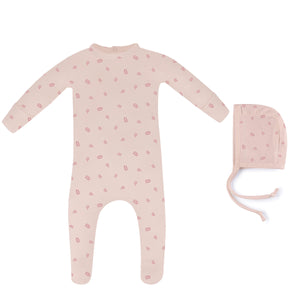 Baby Girl Footie+Bonnet | Leaf | Blush Pink | Ely's & Co SS21