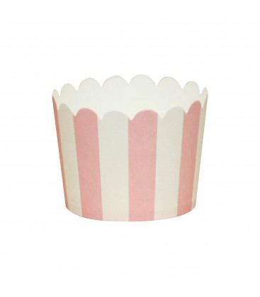 20 Baking Cups Riscas Rosa