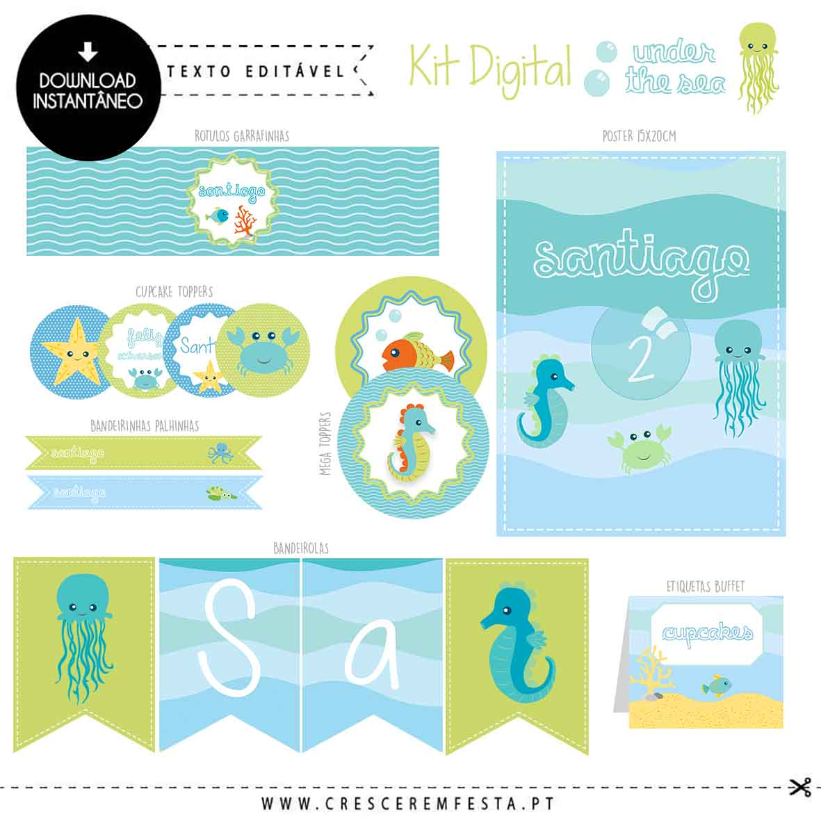 Kit de Festa Digital Under The Sea