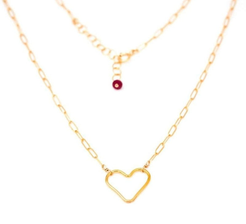 Link Chain w/ Heart Necklace