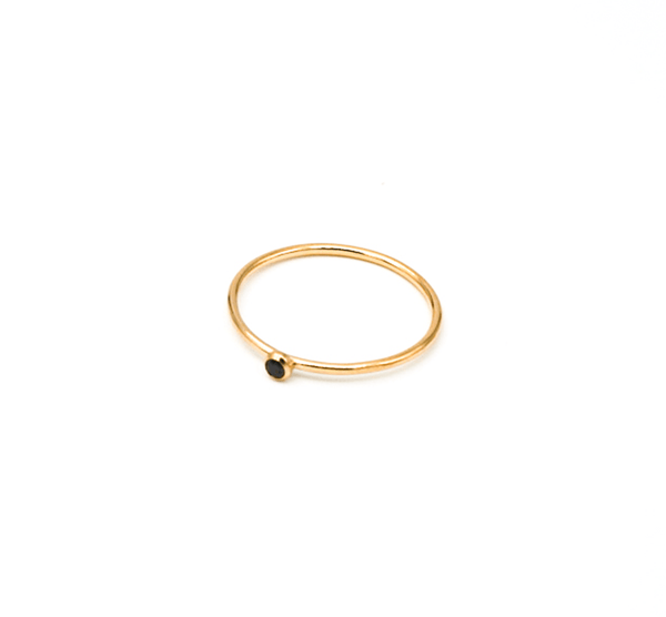 Gold Filled Black CZ Stacking Rings