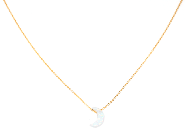 Mini Opalite Moon Necklace (Kid's Size)