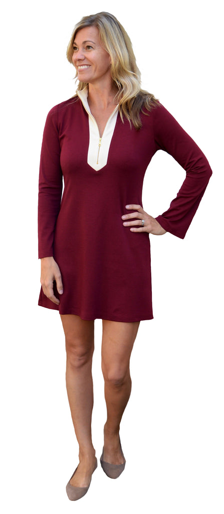 Adelaide Tunic Dress in Burgundy Ponte