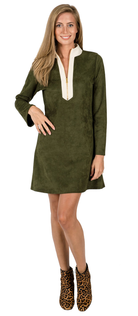 Adelaide Tunic Dress in Olive Suede