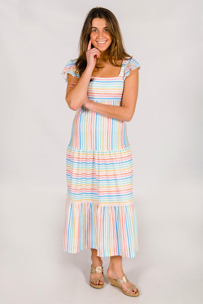 Bitty Tiered Midi Dress in Rainbow Stripe