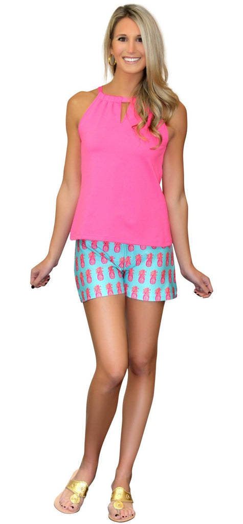 Kaeli Smith Bridget Pull On Short in Pineapple Of My Eye Pink/Green/Aqua Lush Knit (XS-XL)