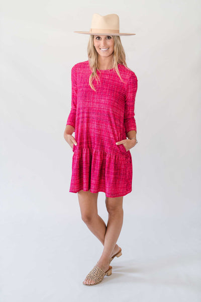 Caroline Dress in Berry Tweed