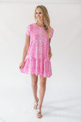 Clara Dress in Cheetah Cha Cha Pink