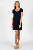 Twiggy Swing Dress in Solid Navy