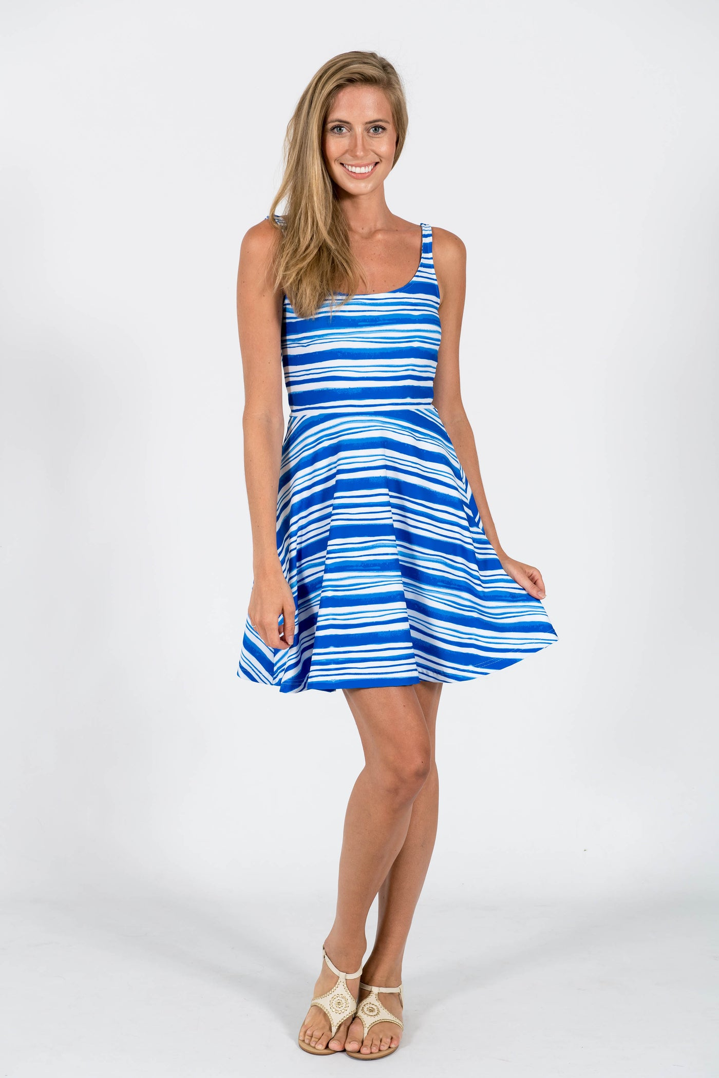 Lilly Fit & Flare Dress in Euro Stripe