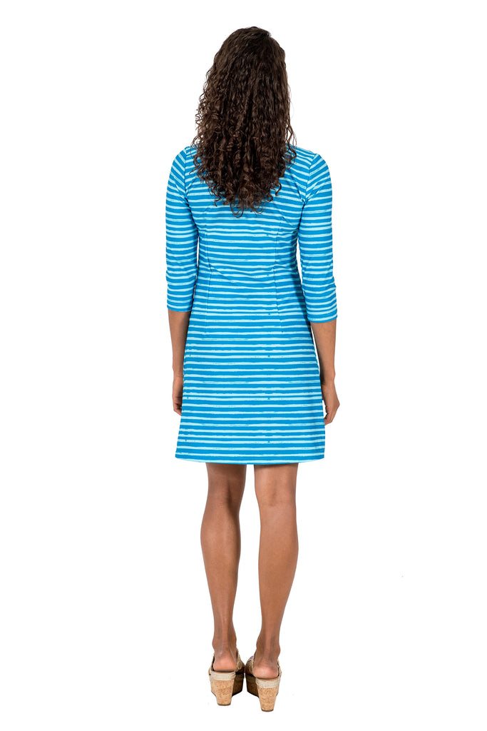 Darby Shift Dress in Effortless Stripe Blue/Aqua (Final Sale)
