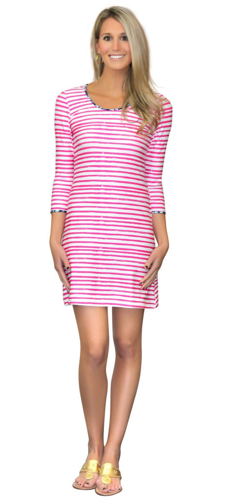 Kaeli Smith Darby Women's Shift Dress 3/4 Sleeve Scoop Neck in Effortless Stripe Pink and White Nautical Stripes (XS-XL)