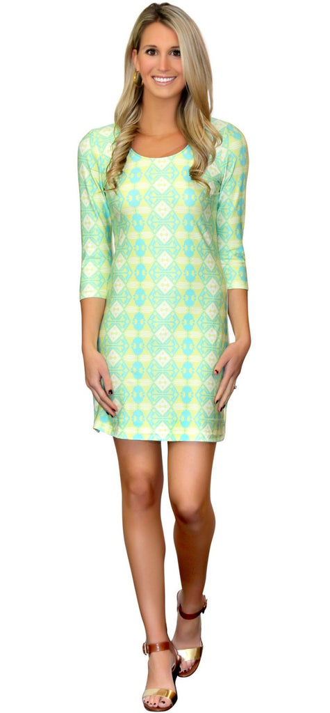 Kaeli Smith Darby Women's Shift Dress 3/4 Sleeve Scoop Neck in Hibiscus, Yellow, Aqua and White (XS-XL)