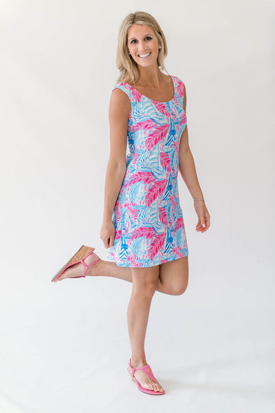 Dixie Shift Dress in Palm Voyage