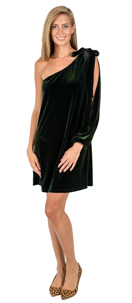 Grace One Shoulder Dress in Emerald Velvet (FINAL SALE)