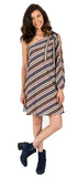 Grace One Shoulder Dress in Yuppie Stripe Ponte (FINAL SALE)