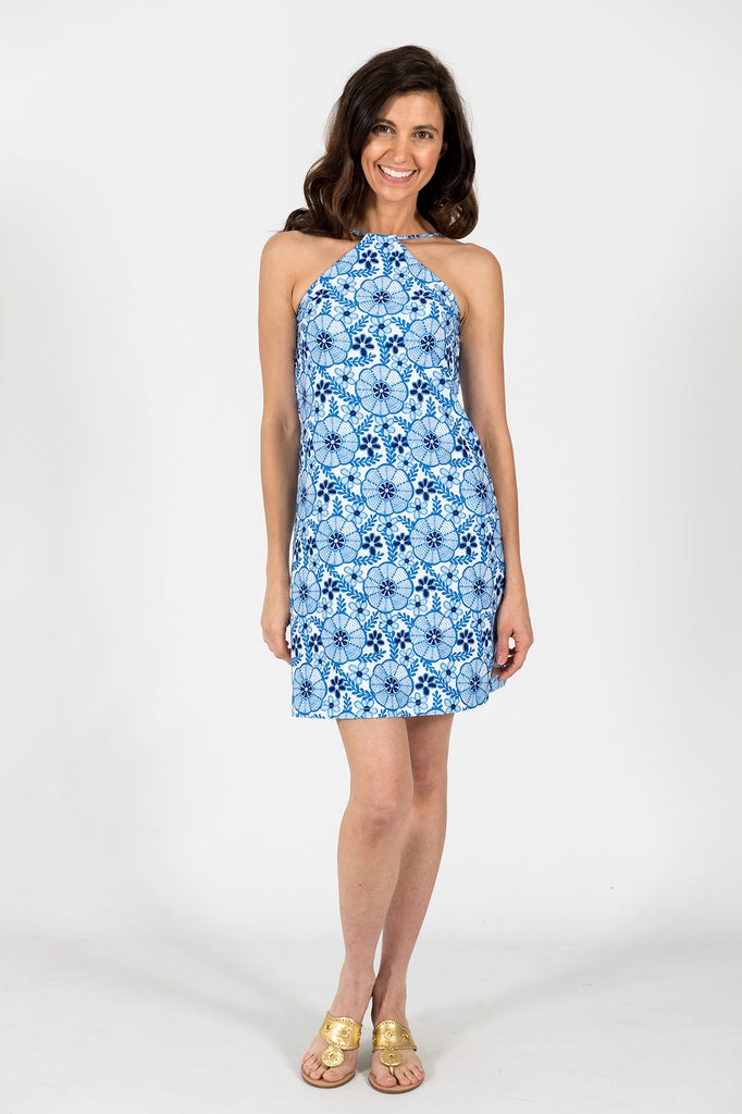 Jade Halter Dress in Flora Blue