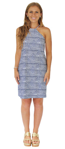 Lulu Shift Dress in Effortless Stripe Red and Blue (Final Sale)