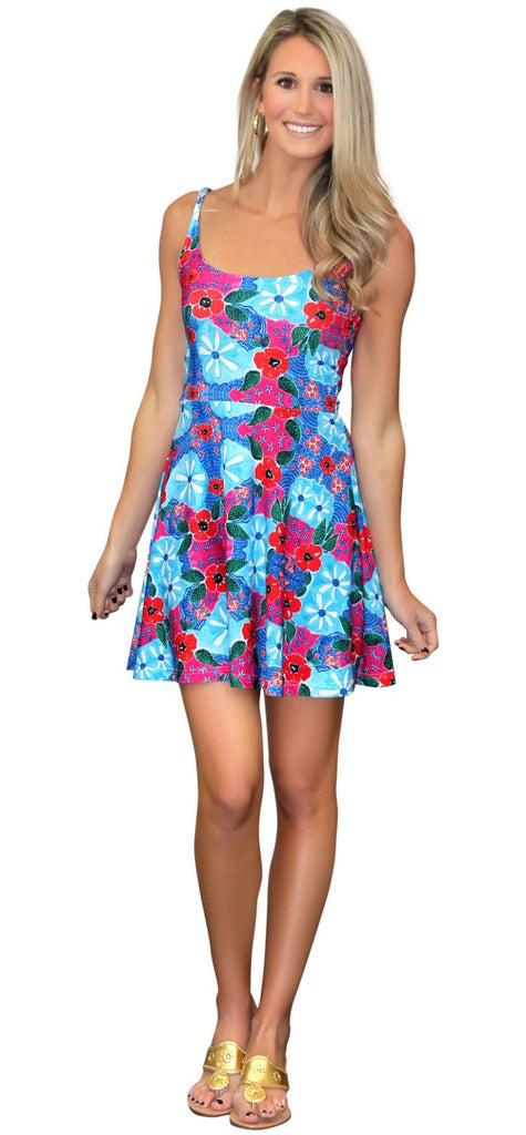 Kaeli Smith Lilly Fit and Flare Sleevess Dress Scoop Neck and Scoop Back in Blue, Green, Pink and Red (XS-XL)