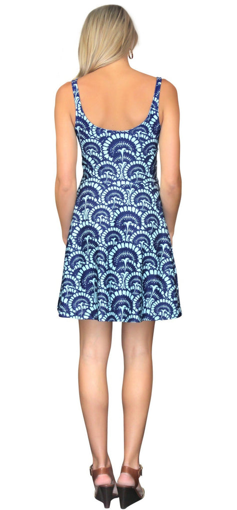 Kaeli Smith Fit & Flare Scoop Neck Dress in Flower Fantasy Blue (XS-XL)
