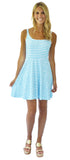 Lilly Fit & Flare Dress in Tiki Stripe Aqua