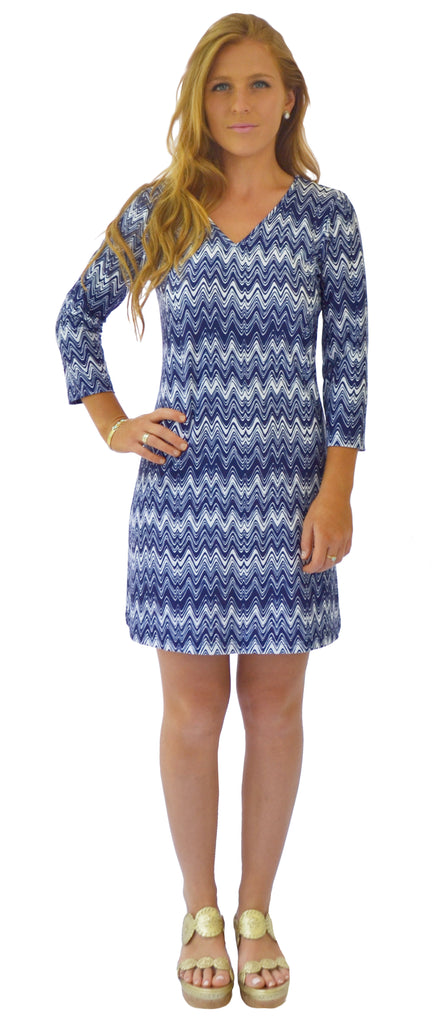 Lulu Shift Dress in Getting Ziggy Navy