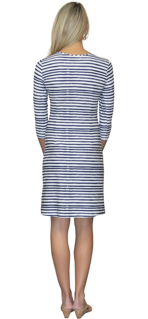Kaeli Smith Lulu Long Shift Dress in Effortless Stripe Navy Nautical (XS-XL)