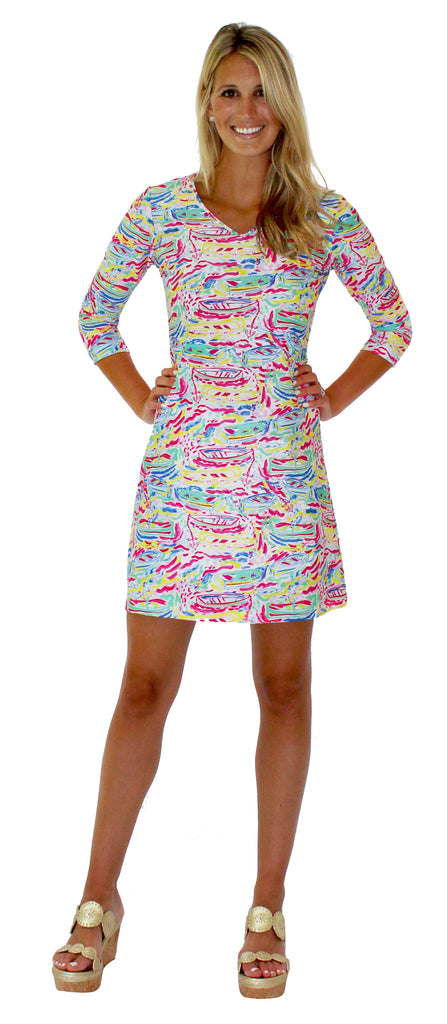 Lulu Shift Dress in Row Your Boat