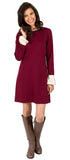 Natalie Dress in Burgundy Ponte