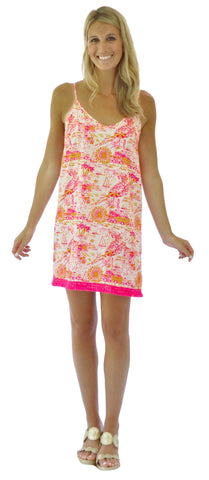 Lilly Fit & Flare Dress in Coral Flowers (Final Sale)