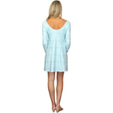 Kaeli Smith Remi Long Sleeve Swing Dress in Effortless Stripe Aqua (XS-XL)