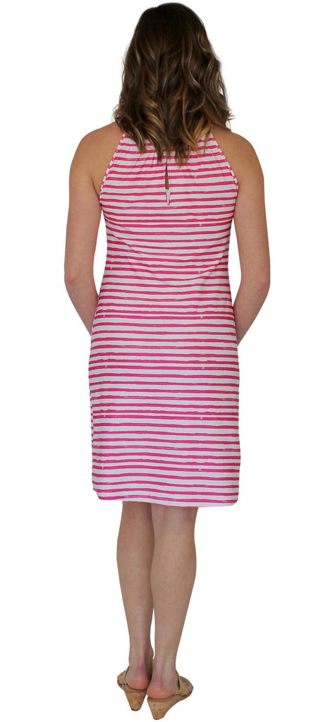 Kaeli Smith Roland Keyhole Shift Dress in Effortless Stripe Pink XS-XL