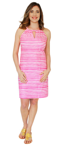 Lulu Longer Length Shift Dress in Effortless Stripe Navy (Final Sale)