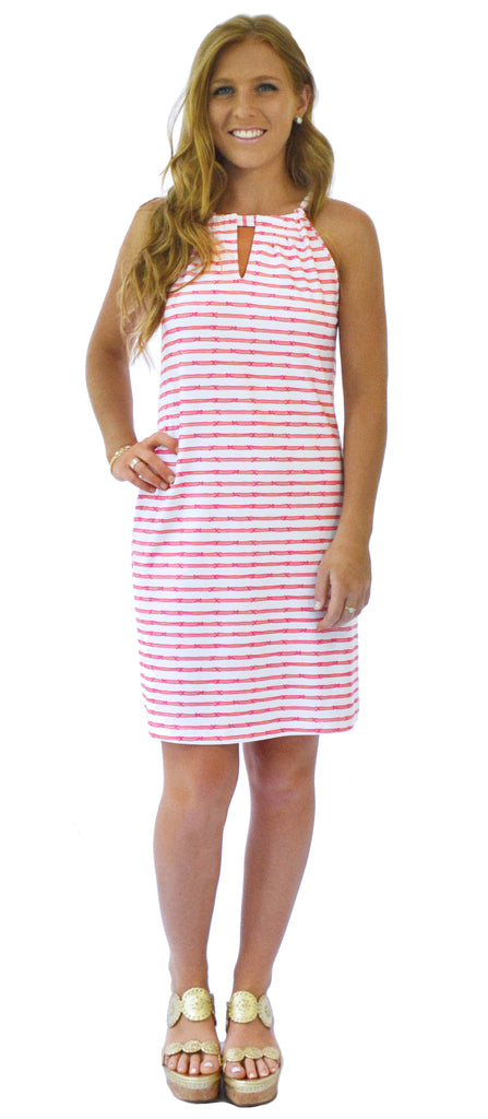 Roland Keyhole Dress in Tiki Stripe Coral