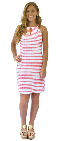 Roland Keyhole Dress in Effortless Stripe Pink and Aqua