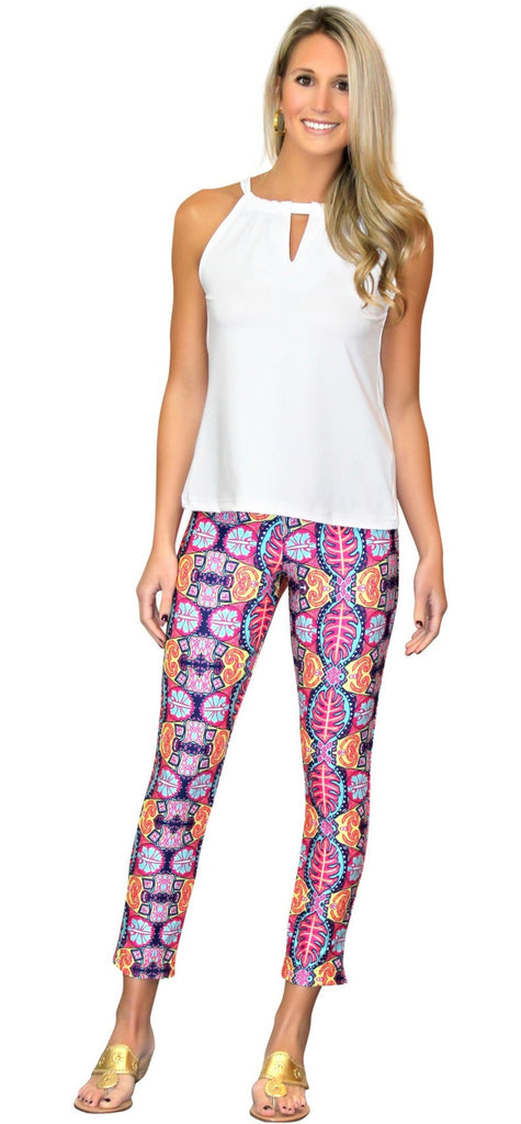 Kaeli Smith Rowan Ankle Pant in Bali Bali Pink/Blue/Multi (XS-XL)