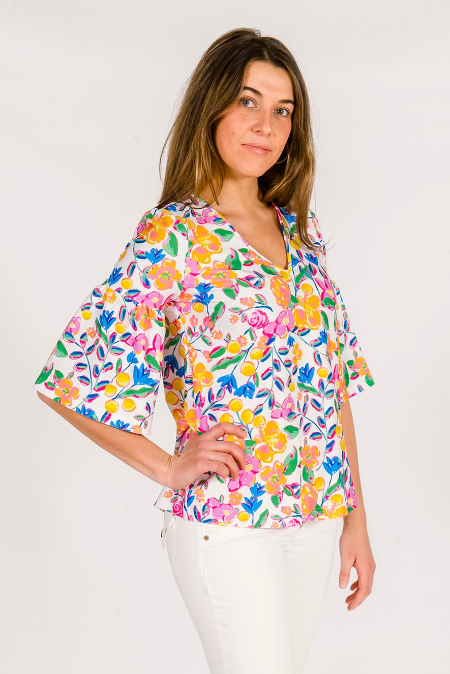 Sage Statement Sleeve Top in Coco Cabana